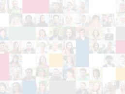 Light-colored background grid showing diverse people
